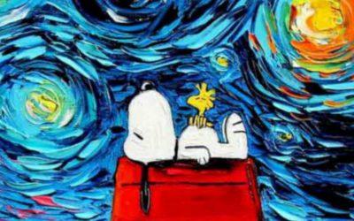 La notte stellata di Van Gogh con personaggi della cultura Pop