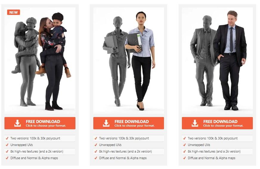 Download modelli umani 3d gratuiti